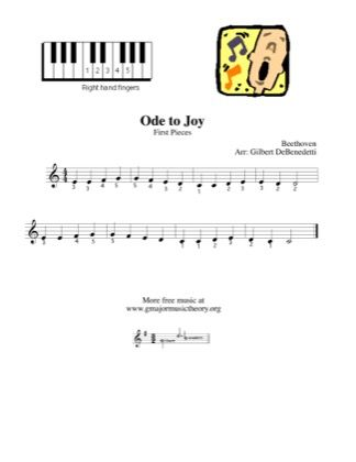 Ode To Joy Right Hand Only By Kids Piano Sheet Music