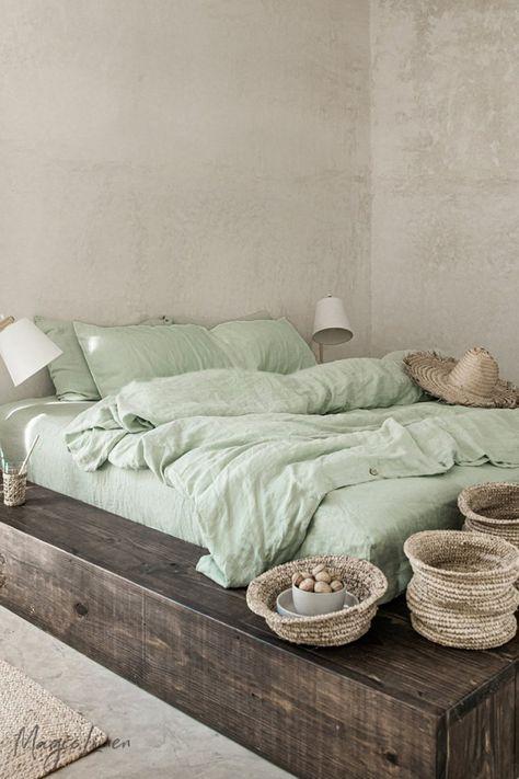 Sage Green Linen Sheets - Sage Green linen bedding collection for an instant spring refresh. Designed to rejuvenate, refresh - Washed Linen Duvet Cover, Bed Linen Sets, Duvet Sets, Duvet Cover Sets, Twin Duvet Covers, Ikea Duvet Cover, Green Duvet Covers, King Size Duvet Covers, Luxury Duvet Covers