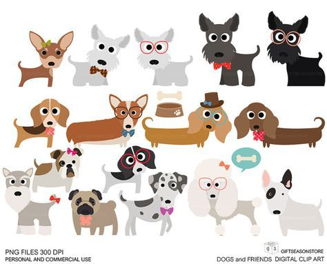 Dogs and Friends clip art for Personal and Commercial use - INSTANT DOWNLOAD
