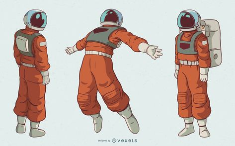 Beautiful space themed character set featuring detalied illustrations of an astronaut in three different positions. Suit Drawing, Back Drawing, Drawing Body Poses, Astronaut Drawing, Astronaut Illustration, Space Character, Man Character, Art Reference Poses, Drawing Reference