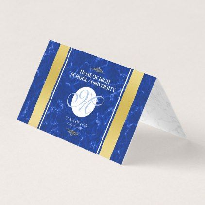 Ub Graduation 2020.Elegant Graduation Monogram Blue Marble Gold Foil Place Card