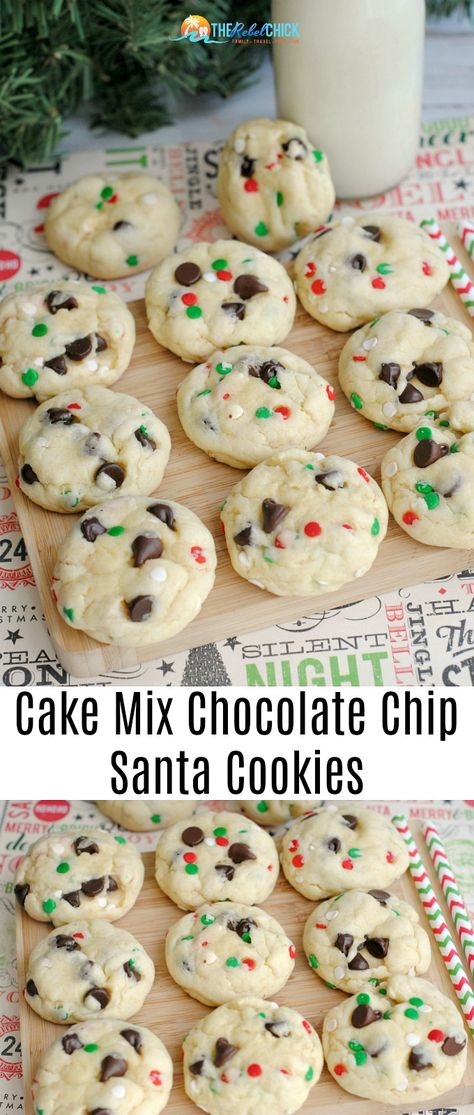 Cake Mix Chocolate Chip Santa Cookies Recipe - Christmas Recipe - Christmas CookiesYou can find Christmas baking and more on our website.Cake Mix C. Santa Cookie Recipe, Chip Cookie Recipe, Santa Cookies, Easy Cookie Recipes, Santa Cake, Easy Recipes, Snacks Recipes, Easy Meals, Xmas Cookies