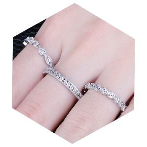 Gold Over 925 Sterling Silver Stackable Cz Eternity Promise Ring Band