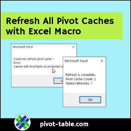 Quickly Refresh All Pivot Caches In Workbook With Excel Macro Message Shows Cache And Failure Counts In 2020 Excel Macros Excel Workbook