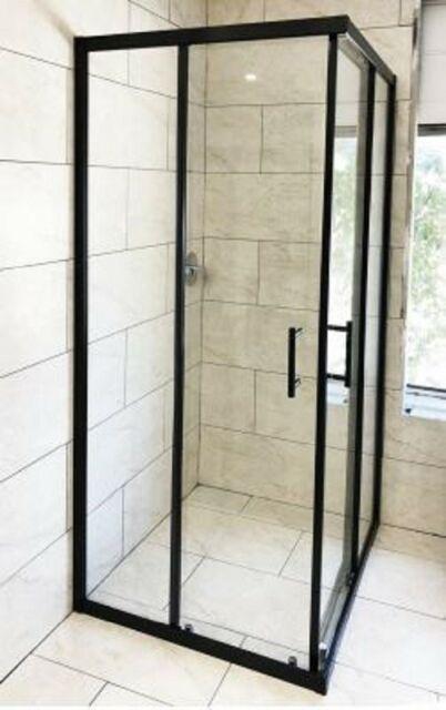 Black Corner Square Sliding Door Framed Shower Screen Cubical Ebay Framed Shower Corner Shower Doors Shower Screen