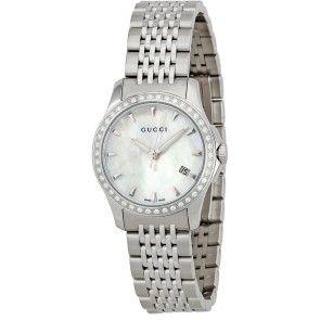ساعات ألماس جوتشي جي تايم لس 42 ألماسة 0 25 قيراط سويسرية مينا لؤلؤية بيضاء للسيدات Timeless Watches Womens Watches Luxury Womens Watches