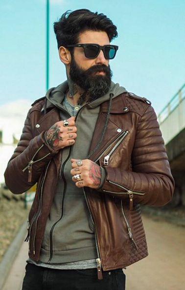 Men's Leather Jacket Handmade Brown Motorcycle Solid Lambskin Leather Coat on Luulla