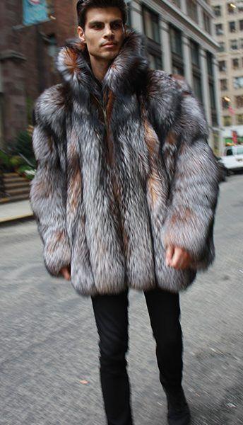 37e92de41ff Men's Crystal Fox Fur Bomber Jacket with Dyed Silver Fox Fur 7733 ...