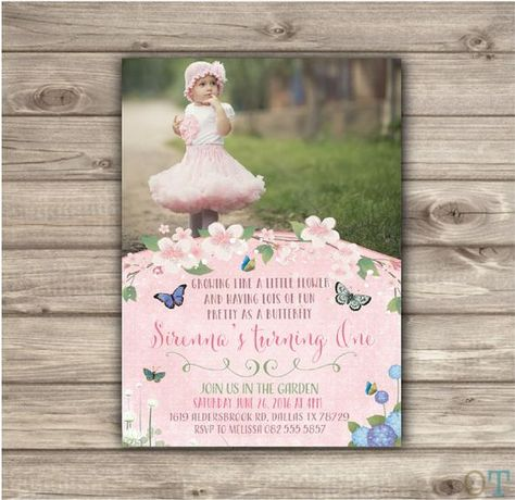 Photo Butterfly Garden Birthday Invitations Bbq Picture Invites Park Picnic Vintage NV7702