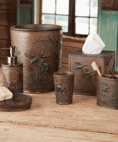 Wildlife Decor On Bathroom Set Bear Bathroom Decor Rustic Bathroom Accessories Rustic Bathroom Accessory Sets