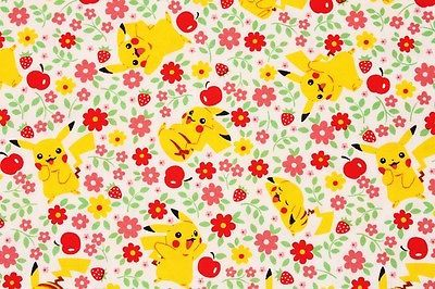 FAT QUARTER POKEMON COTTON FABRIC PIKACHU CHARACTERS ROBERT KAUFMAN QUILTING FQ