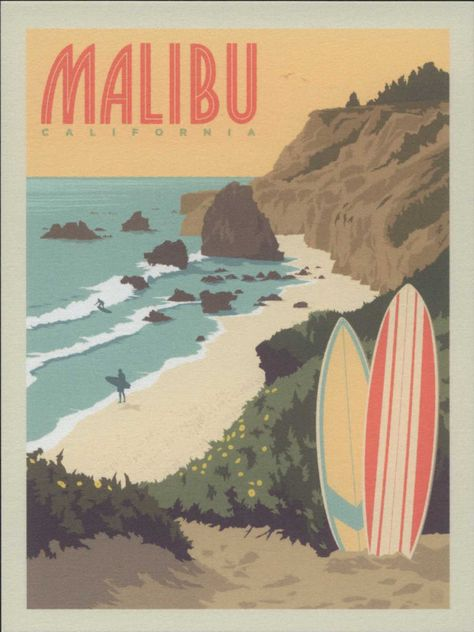 Malibu, California, Surf's Up! Travel Poster Style Modern Postcard Malibu, California, Surf's Up! Travel Poster Style Modern Postcard by markopostcards on Etsy Collage Mural, Bedroom Wall Collage, Photo Wall Collage, Picture Wall, Wall Art, Poster Surf, Poster Retro, Gig Poster, Vintage Surfing