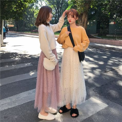 Autumn and winter women's dress Korean version temperament medium and long star screen yarn splicing half-body skirt high waist A-word long skirt student skirt