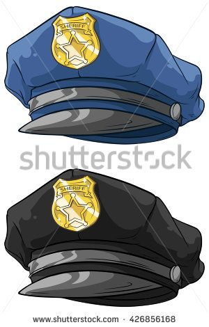 861f4b329dc A vector illustration of cartoon police hat with golden badge set ...