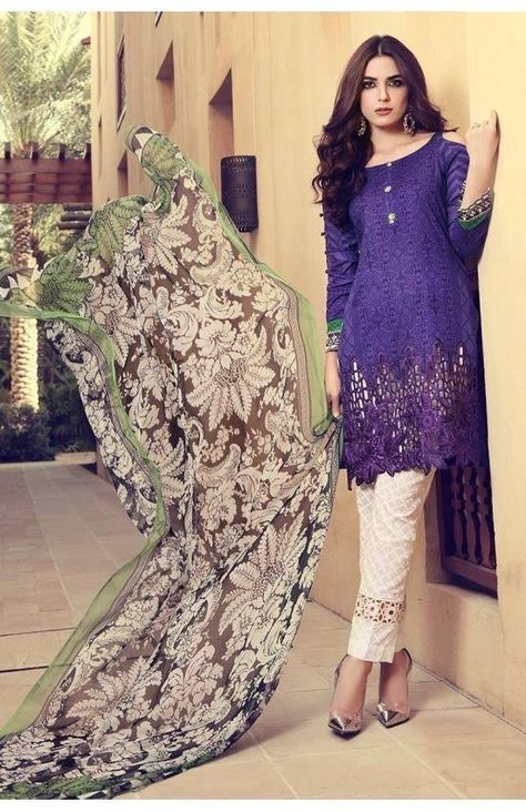 Pakistani Designer Lawn Dress by Maria B Work Embellished with Embroidery and Patch Work at Nameera