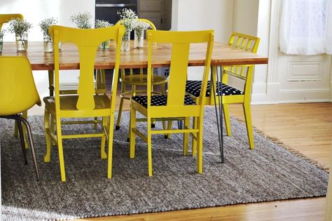 Mismatched Yellow Painted Chairs