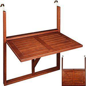 Table de balcon suspendue - 64x45x87cm - bois acacia - pliable | diy ...
