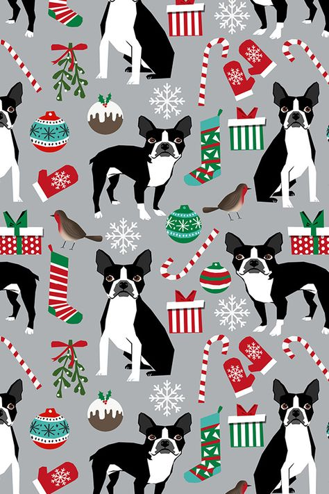 Boston Terrier Holiday Design by petfriendly - Hand illustrated boston terriers and holiday ornaments on fabric, wallpaper, and gift wrap.  Adorable dogs with candy canes, ornaments, gifts, gloves, and snowflakes on a gray background #design #fabric #diy #holiday #makeit #crafty #doglover #cutedog #dog