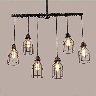 E27 Industrial Vintage Pendant Lamp Steampunk Pipe Cage Hanging Ceiling Light US