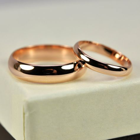 14K Rose Gold Wedding Band Set Half Round 3mm and 5mm Rings