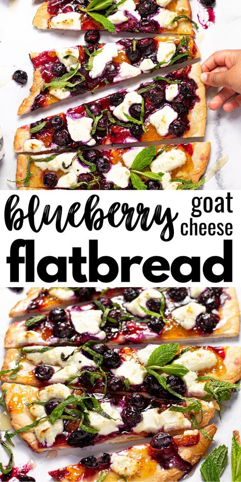 This delicious fruit-forward blueberry flatbread is loaded with apricot jam, creamy goat cheese, sweet honey, and fresh mint. It's the perfect vegetarian appetizer or dessert to use up those fresh, ripe blueberries this summer! Vegetarian Appetizers, Yummy Appetizers, Party Appetizer Recipes, Vegetarian Pizza, Delicious Fruit, Yummy Food, Healthy Food, Tasty, Goats Cheese Flatbread