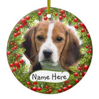 Personalized Beagle Christmas Ornament With Christmas Berries