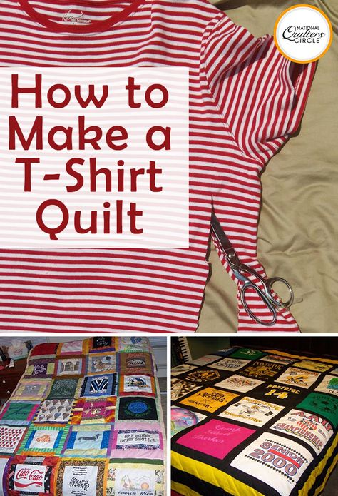 Quick and Easy T-Shirt Quilt Tutorial If you have a pile of clothing and T-shirts that have special meaning but don't really know what to do with them, a T-shirt quilt may be the perfect solution. Not only will you get to revisit some old favorites as you Sewing Hacks, Sewing Tutorials, Sewing Tips, Sewing Ideas, Crazy Quilt Tutorials, Dress Tutorials, Quilting Tutorials, Sewing Patterns Free, Free Sewing