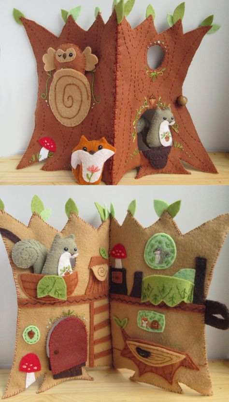 felt toys Quiet Books are the perfect thing for that sweet (and a bit rowdy) child who needs a little quiet time. This Fairy Door Quiet Book PDF sewing pattern is as fun to stitch up as it i Quiet Book Patterns, Felt Quiet Books, Fairy Quiet Book, Woodland Nursery Decor, Sewing Toys, Felt Diy, Felt Animals, Stuffed Toys Patterns, Diy Toys