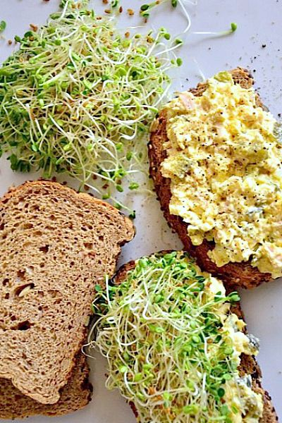 One thing I love about Easter leftovers, besides all the candy, are the leftover eggs and making an Egg Salad with Tuna and Sweet Pickles Sandwich.