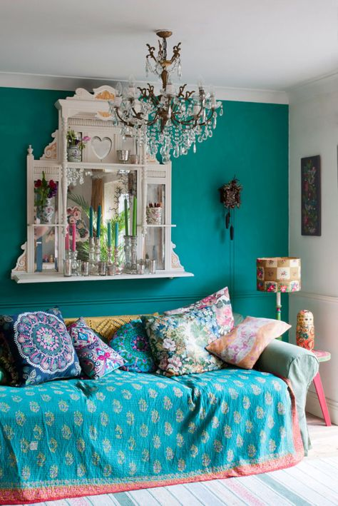 An example of Bohemian style - my lounge photographed for the new Annie Sloan book Room Recipes for Style and Colour the Florence chalk paint wall has attracted a lot of attention to my home with the bold statement and bohemian vibe.