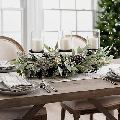 Eucalyptus Pine Cones And Ornaments Centerpiece Christmas Table Centerpieces Christmas Dining Table Christmas Dining Table Decor