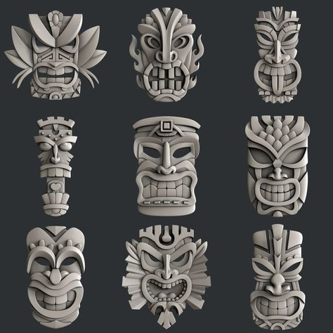This STL models for CNC set 9 models totems is just one of the custom, handmade pieces you'll find in our digital shops. Tiki Tattoo, Totem Tattoo, Cnc Router, Totem Tiki, Maya Art, Totems, Tiki Maske, Tiki Head, Tiki Statues