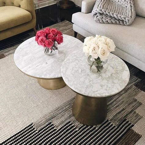 Marble Topped Pedestal Coffee Table White Marble Antique Brass