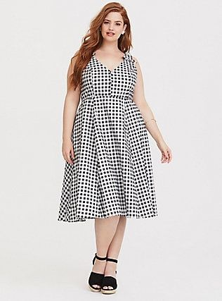 Plus Size Retro Chic Gingham Skater Dress, HALF INCH GINGHAM ...