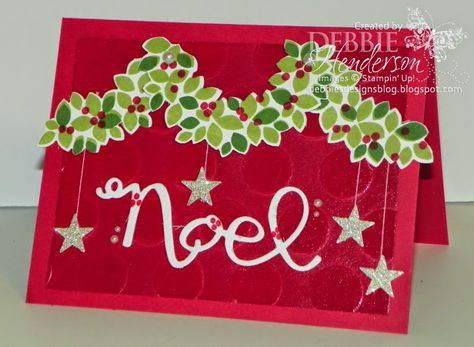 SU! Wondrous Wreath stamp set and Framelits; Wild Wasabi and Real Red ink; Real Red and Whisper White card stock; Dazzling Diamonds glimmer paper; Polka Dot embossing folder. See website for details of embossed background - Debbie Henderson