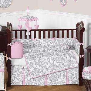 Pink Gray And White Elizabeth Baby Bedding 9pc Crib Set By Sweet Jojo Designs Baby Bedding Sets Crib Bedding Girl Cribs