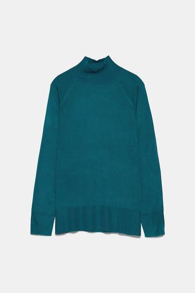 Jersey Cuello Perkins Jerséis Punto Mujer Zara España Mock Neck Sweater Sweaters Oversized Knitted Sweaters