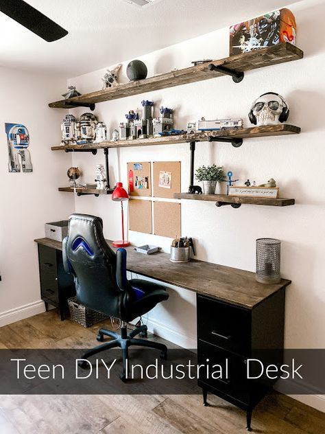 8 foot desk for your teen boy. Farmhouse, industrial shelving, step by step DIY instructions. Teen Boys Room Decor, Teen Boy Rooms, Boys Bedroom Decor, Teen Bedroom, Bedroom Ideas For Teen Boys, Teenage Boy Bedrooms, Boys Room Paint Ideas, Room Ideas For Men, Preteen Boys Bedroom