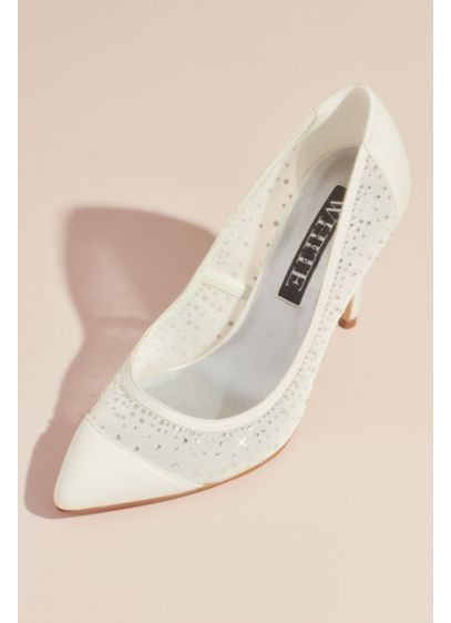 Crystal Embellished Satin and Illusion Mesh Pumps | Vera