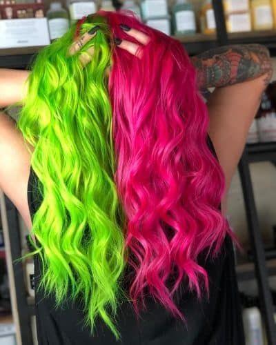 23 Brilliant Split Hair Color Ideas That Ll Make You Dye Your Hair In 2020 Split Dyed Hair Two Color Hair Dyed Hair