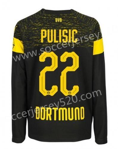 size 40 90736 8c7f2 2018-19 Borussia Dortmund Away Black #22 (PULISIC) Thailand ...