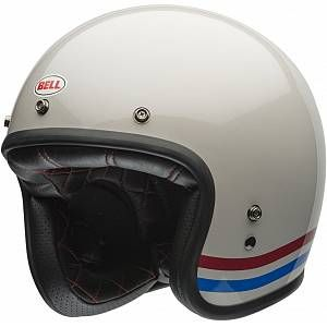 Bell Custom 500 Stripes Jet Helmet White 2xl Open Face Helmets