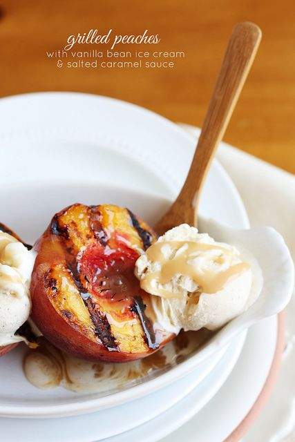 Grilled Peaches with Vanilla Bean Ice Cream & Salted Caramel Sauce. Summer food.