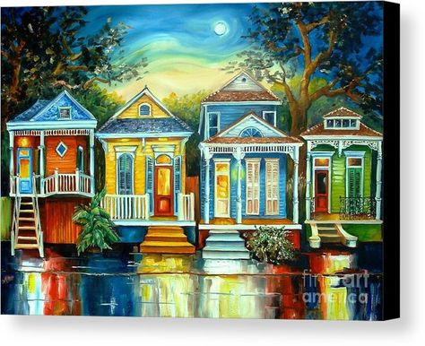 Big Easy Moon Canvas Print by Diane Millsap.  All canvas prints are professionally printed, assembled, and shipped within 3 - 4 business days and delivered ready-to-hang on your wall. Choose from multiple print sizes, border colors, and canvas materials.