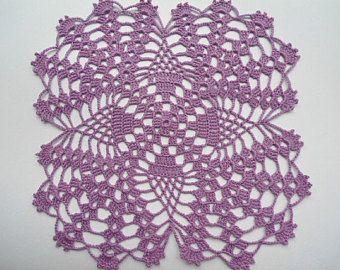 purple doily Oval crochet doily lace tatlecloth 21 x 8