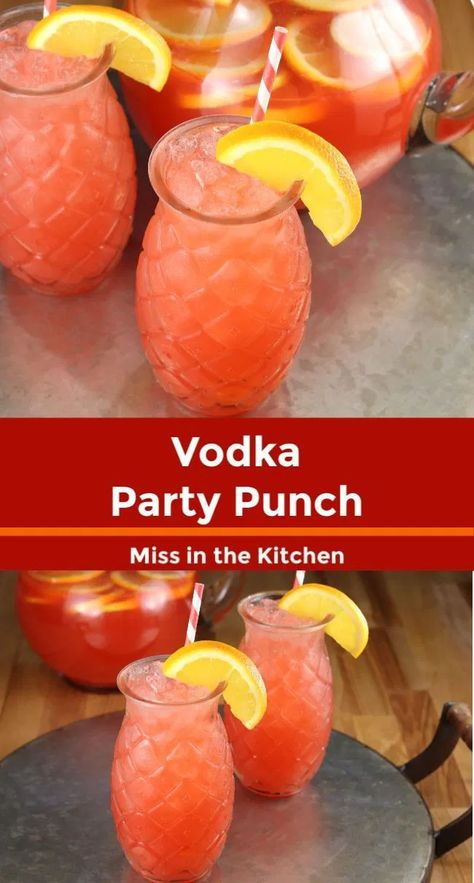 Vodka Party Punch is a simple fruit punch for parties and celebrations. Easy to make ahead in a large batch and can even be frozen for a slushie cocktail. Cocktails Vodka Party Punch Ingredient Fruit Punch} - Miss in the Kitchen Easy Mixed Drinks, Mixed Drinks Alcohol, Alcohol Drink Recipes, Easy Alcoholic Punch Recipes, Cocktail Recipes, Frozen Mixed Drinks, Summer Mixed Drinks, Fruity Mixed Drinks, Mixing Drinks