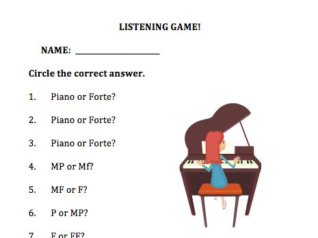 Free Ear Training Worksheet For Beginning Students Pianos Music