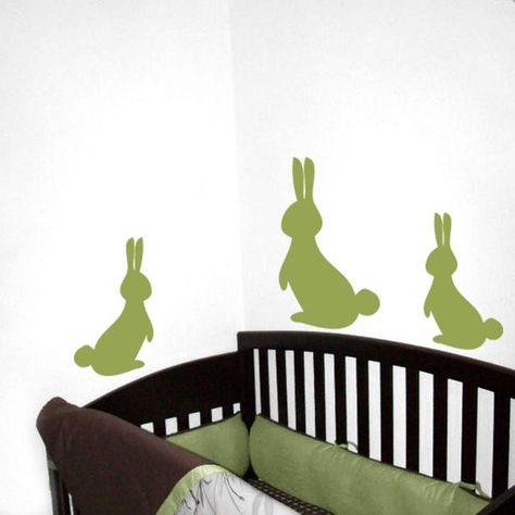 Kids room wall decal rabbit sticker branch wall decals nursery mural KR055/_2