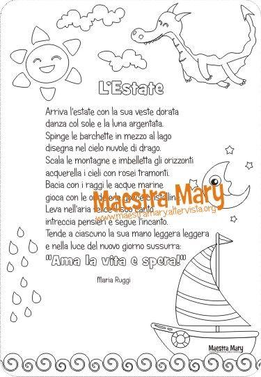 Poesia L Estate Di Maria Ruggi Una Poesia Dedicata All Estate Con I Disegni Da Colorare Sul Sito Di Maestra Mary E Disponibil Poesia Scuola Bambini Estate