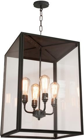 Square Pendant With Four Lampholders Closed Top Extra Large
